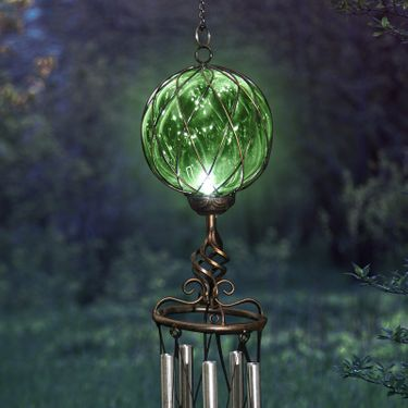 Solar Green Caged Glass Wind Chime - Click to enlarge