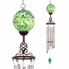 Solar Green Glass Ball Finial Wind Chime