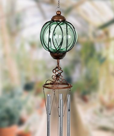 Solar Green Glass Windchime - Metal Links Oval - Click to enlarge