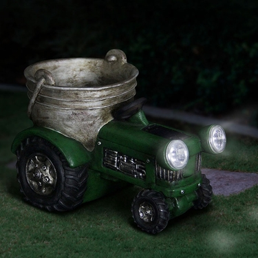 Solar Green Tractor Planter - Click to enlarge