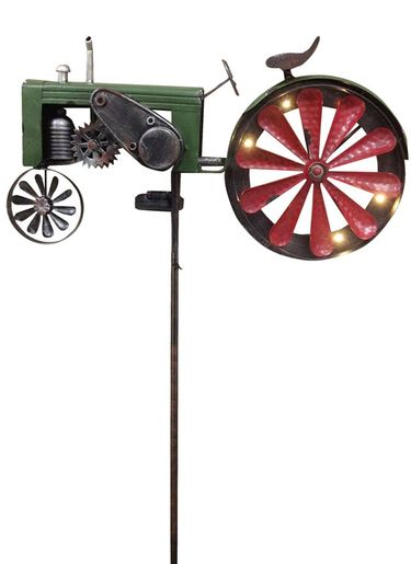 Solar Green Tractor Spinner Stake - Click to enlarge