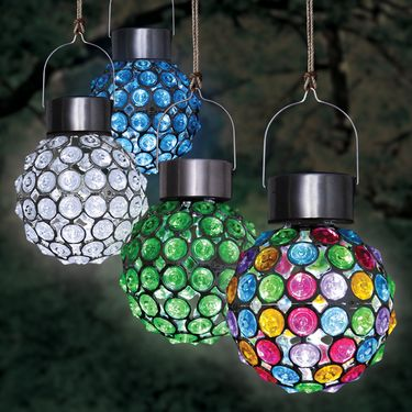 Solar Hanging Glam Balls (Set of 4) - Click to enlarge