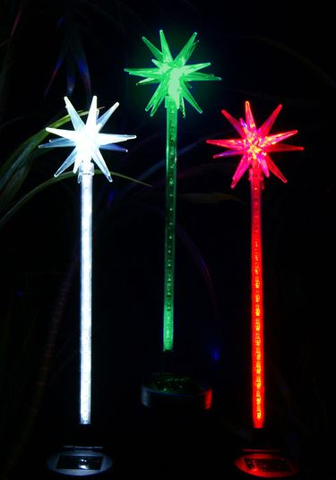 Solar Holiday Motion LED Stakes (Set of 3) - Click to enlarge
