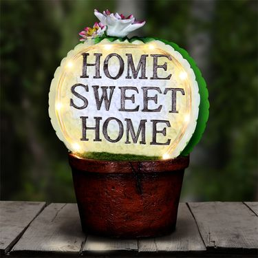 Solar Home Sweet Home Cactus Pot - Click to enlarge