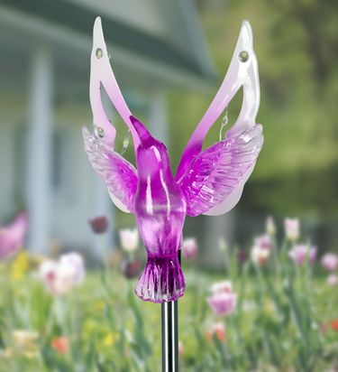 Solar Hummingbird Wings w/12 LEDs Stake - Click to enlarge