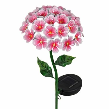 Solar Hydrangea Garden Stake - Pink - Click to enlarge