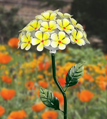 Solar Hydrangea Garden Stake - Yellow - Click to enlarge