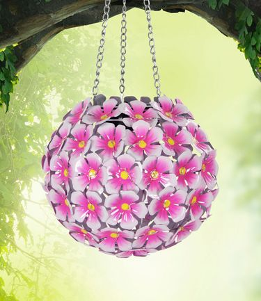 Solar Hydrangea Hanging Flower Ball - Pink - Click to enlarge