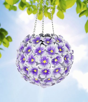 Solar Hydrangea Hanging Flower Ball - Purple - Click to enlarge