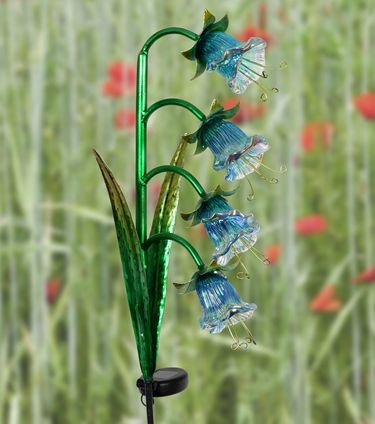 Solar Iridescent Four Flower Garden Stake - Blue - Click to enlarge
