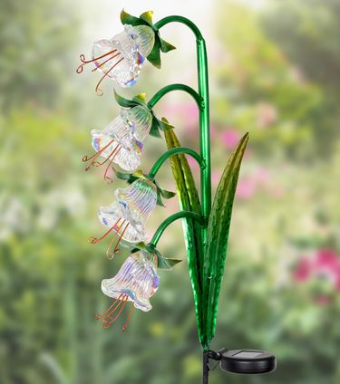 Solar Iridescent Four Flower Garden Stake - White - Click to enlarge