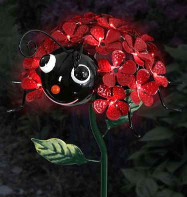 Solar Ladybug Flower Stake w/LEDs - Click to enlarge
