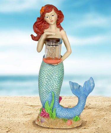 Solar LED Mermaid w/Jar of Fireflies - Click to enlarge
