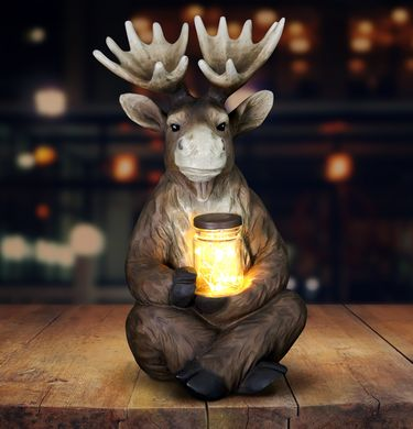 Solar LED Moose w/Jar of Fireflies - Click to enlarge