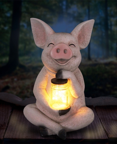 Solar LED Pig w/Jar of Fireflies - Click to enlarge