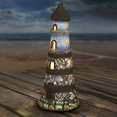 Solar Lighthouse w/Shell Detail - Click to enlarge