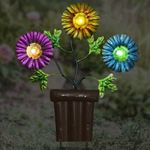 Solar Metal Flowers in Pot Stake