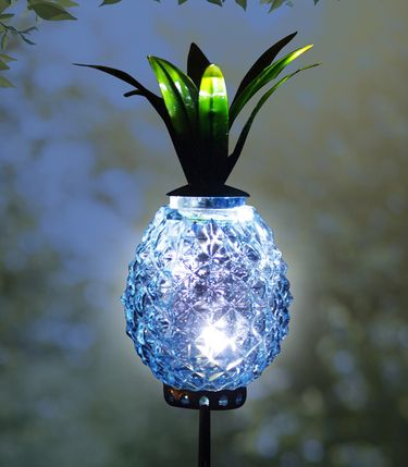 Solar Metal & Glass Pineapple Stake - Blue - Click to enlarge
