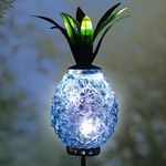 Solar Metal & Glass Pineapple Stake - Blue