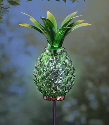 Solar Metal & Glass Pineapple Stake - Green - Click to enlarge
