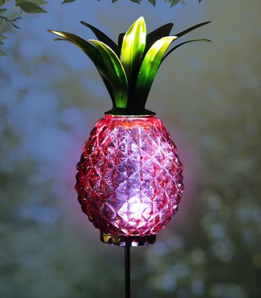 Solar Metal & Glass Pineapple Stake - Red - Click to enlarge