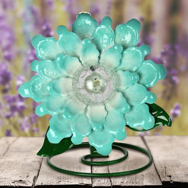 Solar Metal & Glass Tabletop Flower - Blue - Click to enlarge