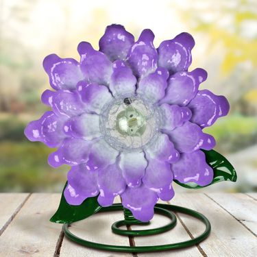 Solar Metal & Glass Tabletop Flower - Purple - Click to enlarge