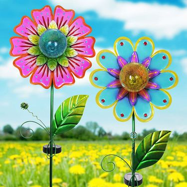 Solar Metallic Flower Stakes (Set of 2) - Click to enlarge