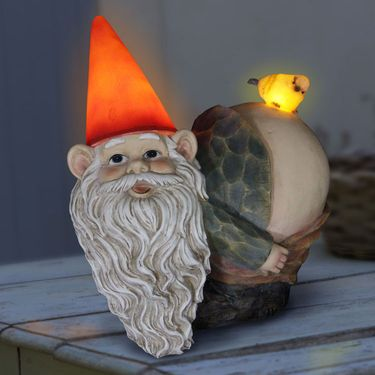 Solar Mooning Gnome w/Bird - Click to enlarge