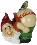 Solar Mooning Gnome Welcome Sign