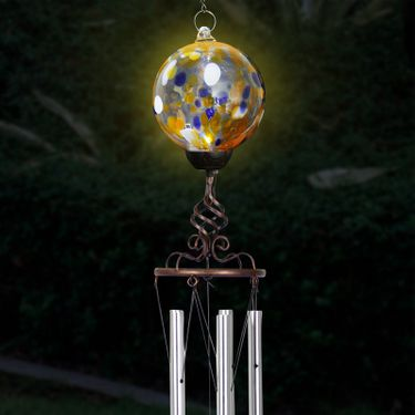 Solar Orange Glass Ball Finial Wind Chime - Click to enlarge