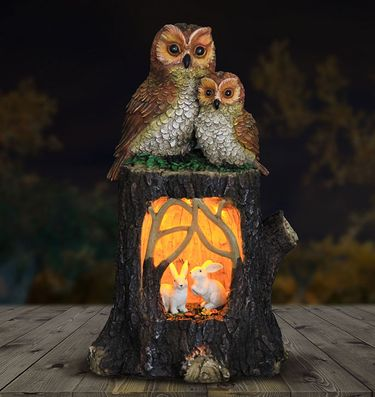 Solar Owls on Stump - Click to enlarge