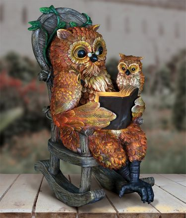 Solar Owls Reading in Rocking Chair - Click to enlarge