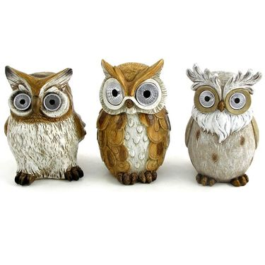 Solar Owls w/Light Up Eyes (Set of 3) - Assorted - Click to enlarge