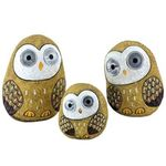 Solar Owls w/Light Up Eyes (Set of 3) - Beige