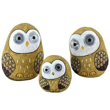 Solar Owls w/Light Up Eyes (Set of 3) - Beige - Click to enlarge