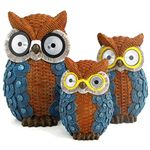 Solar Owls w/Light Up Eyes (Set of 3) - Blue