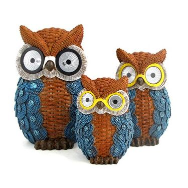 Solar Owls w/Light Up Eyes (Set of 3) - Blue - Click to enlarge