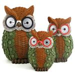 Solar Owls w/Light Up Eyes (Set of 3) - Green