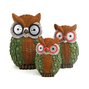 Solar Owls w/Light Up Eyes (Set of 3) - Green - Click to enlarge