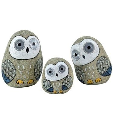 Solar Owls w/Light Up Eyes (Set of 3) - Grey - Click to enlarge