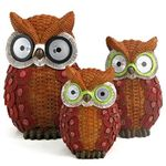 Solar Owls w/Light Up Eyes (Set of 3) - Red