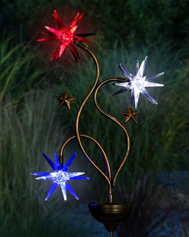 Solar Patriotic Triple Starburst Garden Stake - Click to enlarge