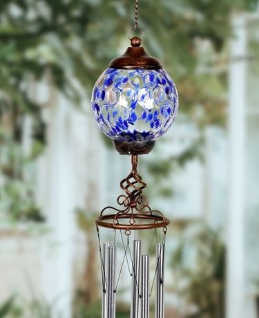 Solar Pearlized Glass Finial Wind Chime - Blue - Click to enlarge