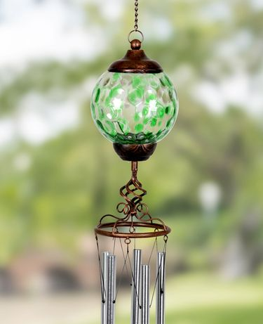 Solar Pearlized Glass Finial Wind Chime - Green - Click to enlarge