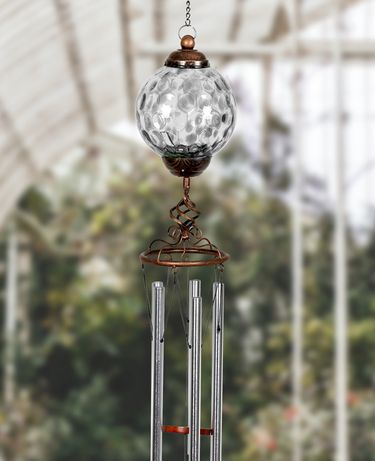 Solar Pearlized Glass Finial Wind Chime - Grey - Click to enlarge