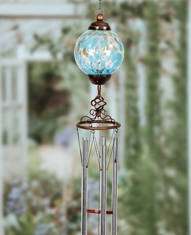Solar Pearlized Glass Finial Wind Chime - Lt Blue - Click to enlarge