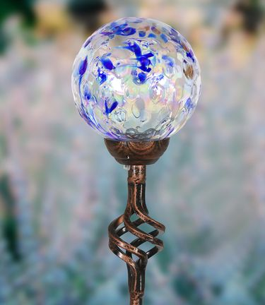 Solar Pearlized Honeycomb Finial Garden Stake - Dk Blue - Click to enlarge
