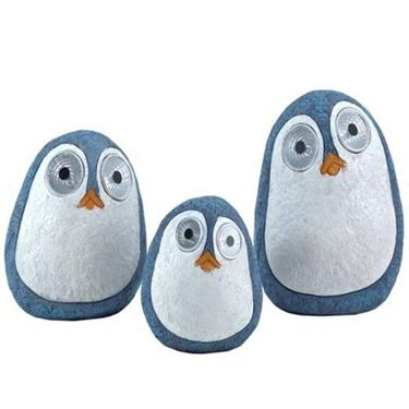 Solar Penguins w/Light Up Eyes (Set of 3) - Light Blue - Click to enlarge
