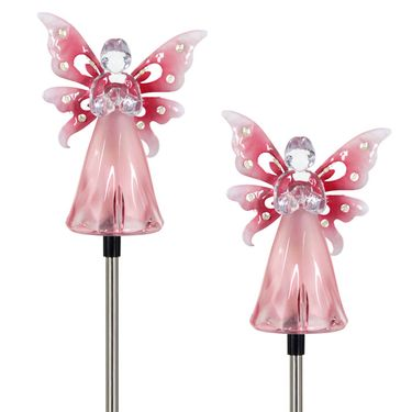 Solar Pink Angel w/LED Wings (Set of 2) - Click to enlarge